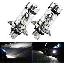 FEZZ LED Bombillas de Coche Auto LED H7 100W Sharp 20SMD Lamparas Iluminación Para faros antiniebla DRL 6000K Blanco (Paquete de 2)