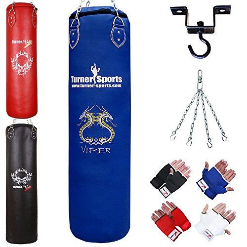 TurnerMAX Boxsack Boxen Set Ausbildung Kampfkünste Muay Thai Mit Stahlkette Innere Handschuhe,Stretch-Band und Deckenhaken 2ft (Blau) Innere Handschuhe