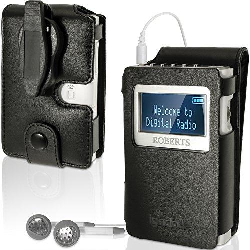 igadgitz Premium Protettiva Flip Nero Ecopelle Custodia Case Cover per Roberts DAB 5 Sports Radio Portatile Con Clip da Cintura Rimovibile + Pellicola