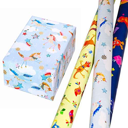 Geschenkpapier Kinder Set 3 Rollen (75 x 150 cm), bunte Monster leuchten aus dem matten Fond glänzend heraus, bunte Tiere auf gelbem Mattfond, Einhörner mit goldenen Akzenten. Für Kinder, Geburtstag. - Kinder-goldenen Geburtstag