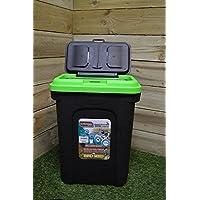 Kingfisher Pet Care - Cubo con tapa para almacenar comida de perros (hasta 15,5 kg,  cierre hermético de goma), color negro y verde