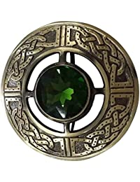d2f98b053bb Men's Scottish Kilt Fly Plaid Brooch Green Stone Antique Finish 3