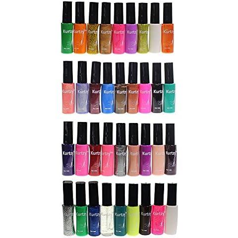 KurtzyTM Pack de 36 Esmaltes de Uñas de Calidad Surtido de Colores Set de Barnices para Arte de