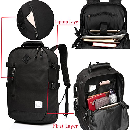 Vaschy Laptop Backpacks Anti-thief Water Resistant Travel Bags fits up to 15.6 Inch School Backpack in Black