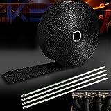 2'16,5m rollo negro cinta fibra de vidrio tubo de escape encabezado envoltura de calor + 4lazos Kit