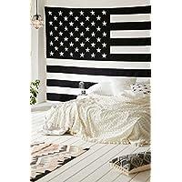 Popular Handicrafts Bandiera Americana intricato Floral Design indiano pensiero magico Tapestry 137,2x 213,4cm, (140x 210cms) Bianco e nero