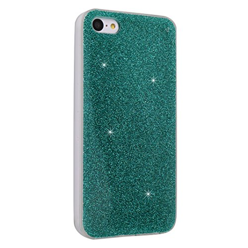 Coque iPhone 5/5S/SE Houss Glitter, Moon mood® Souple TPU Étui de Protection iPhone 5 Ultra Mince Arrière Cas iPhone SE Bling Shiny Silicone Gel Soft Case Bumper Cover Brillante Paillettes Téléphone C Vert