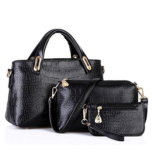 Bovake Frauen Handtaschen Schultertaschen Tote Geldbörse Leder Damen Messenger Hobo Tasche Black