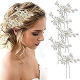 MOOKLIN épingles à cheveux de Perle, lot de 5 pince a cheveux diamant en forme de U, pour cheveux/coiffure de mariée, femme on fête de mariage, accessoire bijoux cheveux mariage...