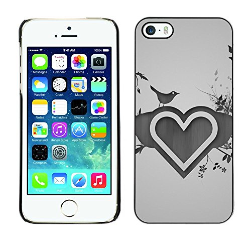 TopCaseStore / caoutchouc Hard Case Housse de protection la Peau - Heart Love Heart Nature Bird Flowers Drawing - Apple iPhone 5 / 5S