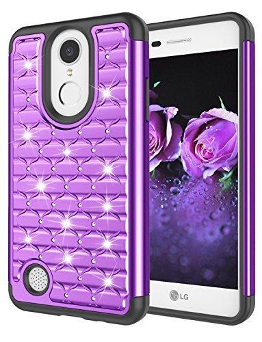 LG Aristo Fall, LG Phoenix 3Fall, LG K82017Fall, LG Fortune Fall, jeylly [Diamant Star] Nieten Strass Kristall Bling Schutz Hybrid Armor Defender Hülle Schutzhülle Case Cover für LG LV3/V3, violett Sprint Touch Diamond