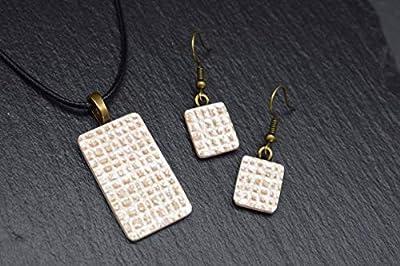 Bijoux-céramique-designer-ensemble femmes collier avec pendentif boucles d'oreilles en beige perlé fait main bijoux-femme-fantaisie