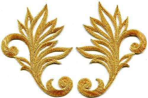 Gold Trim Fransen Blätter Glitzer Retro Boho bestickt Applikationen zum Aufbügeln Patches Paar Floral Gold Trim
