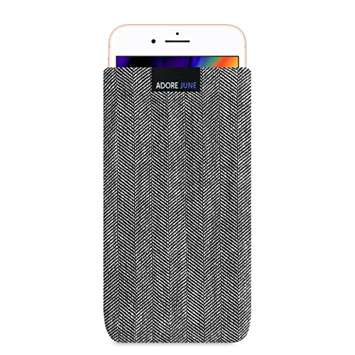 Adore June Business Tasche für Apple iPhone 8 Plus Handytasche aus charakteristischem Fischgrat Stoff - Grau/Schwarz | Schutztasche Zubehör mit Display Reinigungs-Effekt | Made in Europe
