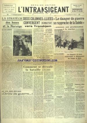 INTRANSIGEANT (L') du 26/04/1940 - LA STRATEGI...