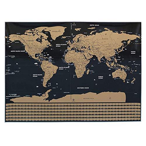 Póster del mundo con mapa de arañazos