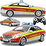 Einsatzfahrzeug / Auto ferngesteuert Modell Mercedes Benz E-Klasse (E 350) Coupe 1:16 RC mit Sound Beleuchtung und verschiedenen Fahrfunktionen (Feuerwehr)