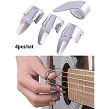 SHZONS 3metal Púas de dedos + 1Pulgar Pick Set guitarra Fingerpicks para guitarra Dobro, Banjo, etc., 4pcs/set