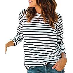 563ed1dbdea2 Ode Joy Top a Maniche Lunghe Girocollo Righe da Donna T-Shirt con Corte e  Stampa