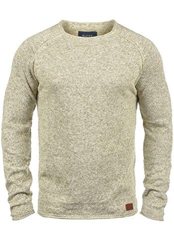 BLEND Dan Herren Strickpullover Rundhalskragen aus hochwertiger Baumwoll- Mischung Meliert, Größe:L, Farbe:Bone White (70016) (Pullover Männer)