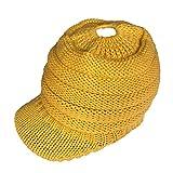 AIni Damen Wintermütze Pferdeschwanz Mütze Strickmützen Crochet Knit Hip-Hop Mütze Gestrickte Baseballmütze (Gelb)
