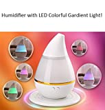 Ultrasonic LED Humidifier Diffuser Water-drop Aroma Oils Perfume Car Air Purifier with Colorful Gardient Light Companion for Home/Office/Vehicle