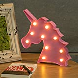 CO-Z Unicorn Table LED Night Light Lamp Kids Marquee Letter Lights for Birthday Party Wedding Atmosphere, Decorative Light for Bedroom & Wall Decoration (Pink)