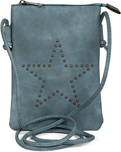 styleBREAKER Mini Bag Umhängetasche mit Nieten in Stern Form, Schultertasche, Handtasche, Tasche, Damen 02012235, Farbe:Jeansblau -