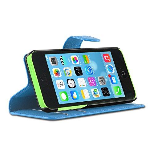 Apple iPhone 5C Hülle in PINK von Cadorabo - Handy-Hülle mit Karten-Fach und Standfunktion für iPhone 5C Case Cover Schutz-hülle Etui Tasche Book Klapp Style in CHERRY-PINK PASTEL-BLAU