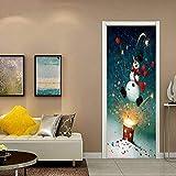 LOVEJJ Sticker de Porte 3D Yeti Sticker Porte 3D Effect Chambre Salle de Bain Papier Peint Vinyle Mural Amovible Poster pvc 95x215cm