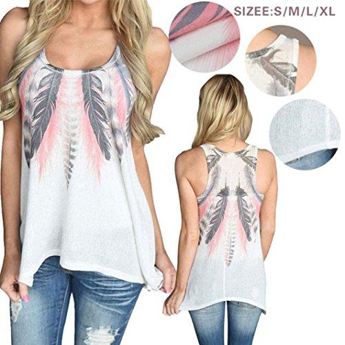 TWIFER Ärmellose Hemden Feder Bluse Damen Tank Tops T-Shirt (S-4XL) - 3