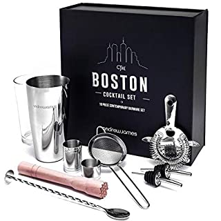 Andrew James Boston Cocktail Making Box Set | Bartender Kit With Glass and Stainless Steel Accessories Including Muddler Jigger & Strainer
