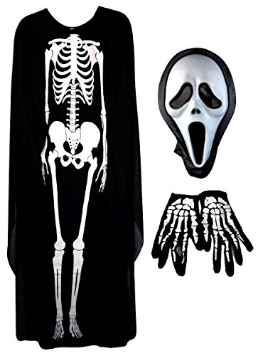Erwachsene Kostüme Kinder (Mangotree 3Pcs Halloween Unisex Schädel Skelett Geist Kostüm Schreien Ghost Maske Maskerade Cartoon Cosplay Requisiten Kleidung für Erwachsene / Kinder - Halloween Party - Skelett (Erwachsenen,)
