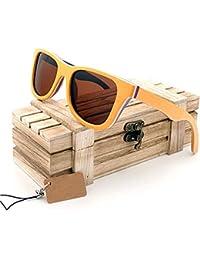 OOFAY Gafas de Sol Color Madera, Gafas de Sol Mate Pareja Lentes polarizadas Gafas de