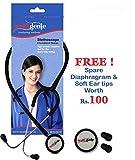 Healthgenie Dual Aluminum Non Chill Stethoscope HG-201B (Black)...