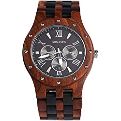 BS ® Handmade Lightweight Wooden Watch Day Date Calendar Function Quartz Movement Made With Luxury Natural Sandalwood BNS-260B
