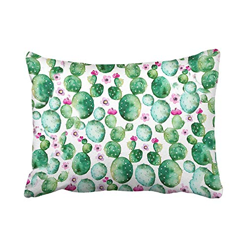 Nifdhkw Kissencases Cute Girly Floral Fashion Cactus Flower Polyester Kissen Covers 20 x 30 Inch Standard Size Rectangle Cushion Decorative Kissencase with Hidden Zipper Home Sofa -