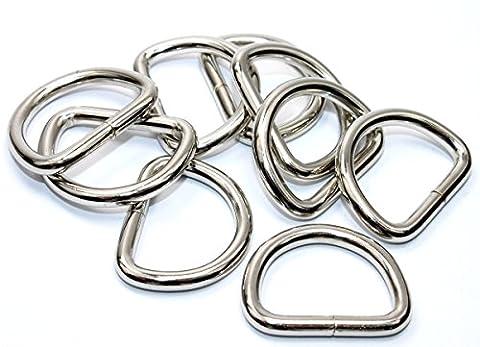 D-Ringe-Halbringe, 50 Stück 25x18x4mm *verchromt* für 25mm Gurt/Band geeignet. (Nähen Ringe)