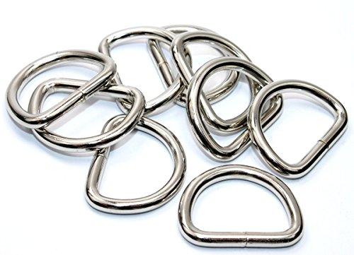 D-Ringe-Halbringe, 10 Stück 25x18x4mm *verchromt* für 25mm Gurt/Band geeignet.