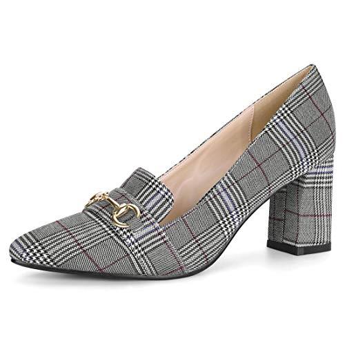 Allegra K Damen Pointed Toe Buckle Blockabsatz Karo High Heels Pumps, Schwarz Weiß/EU 40 Patent 3 3/4