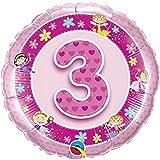 Folienballon Zahl 3 RUND rosa (ca.45cm) 3. Geburtstag ungefüllt Ballon Luftballon