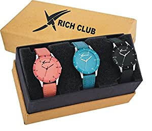 Rich Club Quartz Movement Analogue Multicolour Dial Women's Watch -(PICSO-605COMBO) Pack of 3
