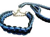 stabile geflochtene Hundeleine + Halsband (L, schwarz/blau)