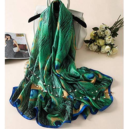 ALPNXZ Seidenschal Damen Seide Schals Frauen drucken Pfauenfedern Seide Foulard Schal -