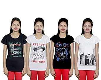 Indistar Women's Cotton T-Shirts (Pack of 4 T-Shirts) Combo Offer