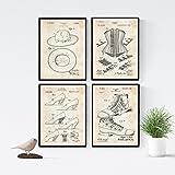 Nacnic Vintage - Pack de 4 Láminas con Patentes de Moda. Set de Posters con inventos y Patentes...