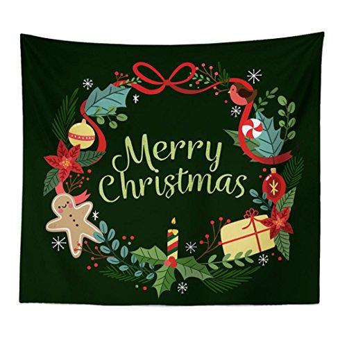 Xshuai 150 * 200 cm Multi Verwendet Weihnachten Weihnachten Deer Santa Print Tapisserie Hippie Zimmer Tagesdecke Wandbehang Decke (A)