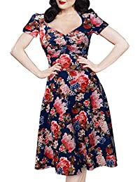 SSITG Damen Hawaii Sommer Rockabilly Blumendruck Vintage Abendkleid Ball Partykleid