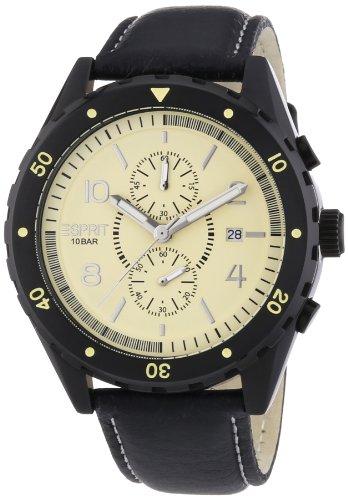 esprit-es105551002-alamo-montre-homme-quartz-chronographe-cadran-beige-bracelet-cuir-noir
