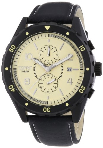 Esprit Alamo Chrono Beige ES105551002 - Reloj cronógrafo de cuarzo para hombre, correa de cuero color negro (agujas luminiscentes, cronómetro)